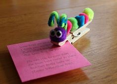 Turn clothespins into Love Bugs for Valentines Day! Clip them to a valentine card or a treat (or to your sweetie's jacket!) for V-Day or any day you want to show your love!