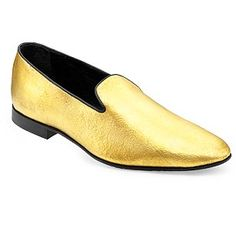 Struck gold: The Alberto Moretti heels for women, left and loafers for men are 24 carats