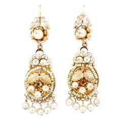 Large Gold and Natural Pearls Frida Earrings  Mexico  late 19th century