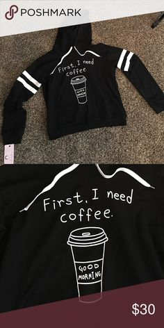 ☕️Cute coffee hoodie. Size L. NWT☕️ Black and white coffee hoodie!! Size L. NWT Tops Sweatshirts & Hoodies