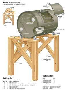 DIY Compost Tumbler | 13 Best DIY Compost Tumblers | Drum Compost Ideas and Plans for your Garden by Pioneer Settler at http://pioneersettler.com/compost-tumblers/: #Toolsforyourvegetablegarden