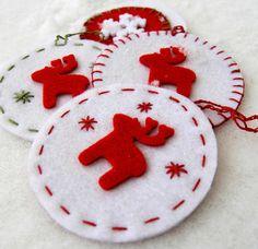Christmas ornaments made of felt, ozdoby choinkowe, świąteczne dekoracje, z filcu, na choinkę, Boże Narodzenie, DIY, tutorial, zrób to sam...