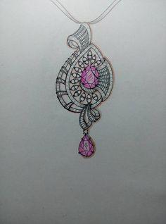 Pendant Design, Pendant Set, Diamond Pendant, Diamond Jewelry, Jewellery Sketches, Jewelry Sketch, Jewellery Designs, Jewelry Design Drawing, Jewelry Illustration