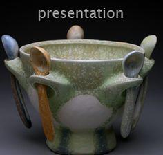Gwendolyn Yoppolo     Porcelain serving-bowl & spoons, micro-crystalline glaze.