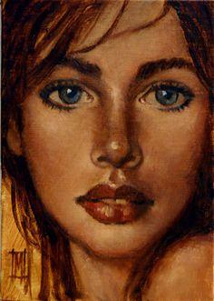 "NEW WOMEN 14 by Mollie Erkenbrack Oil ~ 7"" x 5"". (SOLD)"