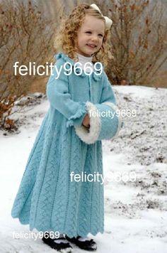 Girls Snowflake Princess Coat - KNITTING PATTERN  1 - 6 years
