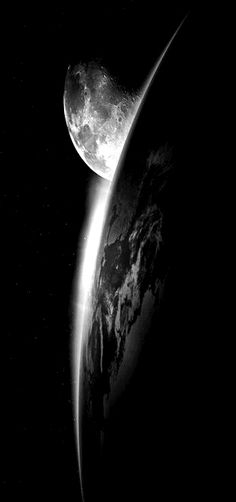 Moon and earth. Black and white
