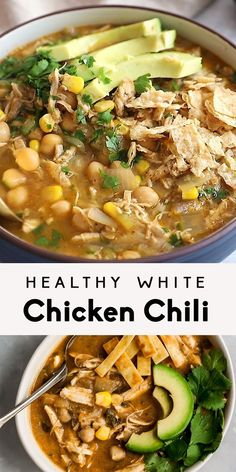 Healthy white chicken chili that's nice and creamy, yet there's no cream! Made with green chile, chicken, corn and blended chickpeas to make it thick and creamy. This easy white chicken chili recipe can even be made in the slow cooker and is bound to become a new family favorite. Serve with avocado, tortilla chips and cilantro. #chili #gamedayfood #slowcooker #highprotein #healthydinner #mealprep #glutenfree #chickenrecipe #chickpeas