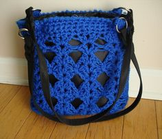 Blue Crochet and knit purse by CreationsbyAAJ on Etsy