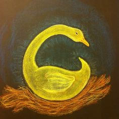 Waldorf ~ 1st grade ~ Letter: G ~ The Golden Goose ~ chalkboard drawing
