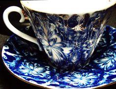 Gold & Blue Floral Cup & Saucer