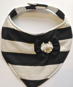Thick Stripe Black and Oatmeal Stripped Bib by CharleyCharlesShop