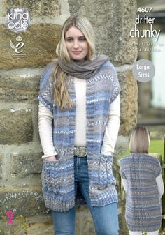 Beautiful yarn and a relaxed design make for a lovely and cozy layer to add to your wardrobe. For both versions, knit with 5 skeins of King Cole Drifter Chunky and U. sizes and needles. Finished size to fit bust (. Chunky Knitting Patterns, Knitting Wool, Knit Patterns, Vogue Knitting, Knitting Machine, Vintage Knitting, Crochet Waistcoat, Knit Cardigan Pattern, Big Cardigan