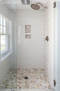 Shower Tile hand-made White Crackled ceramic Tile. Shower Tile hand-ma… Shower Tile hand-made White Crackled ceramic Tile. Shower Tile hand-made White Crackled tile glossy, hand-painted appearance and irregular edges add to its rich, old-world look. Pebble Shower Floor, Small Tile Shower, River Rock Shower, White Tile Shower, Shower Tile Paint, Corian Shower Walls, Glass Shower, Wc Decoration, Master Bathroom Shower