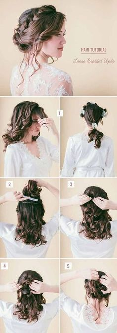 Wedding Hairstyles for Long Hair - Loose Updo with Braids - Looking For The Perfect Updo Or Half Up For Your Wedding Day? I've Covered My Favorite DIY And Professional Hairstyles For Long Hair With Amazing To The Side Looks, Styles With Braids, And How To Work With Veil And With Flowers In Your Hair. Great Step By Step Tutorials For A Bridesmaid Look And Some Simple And Elegant Ideas For A Vintage Wedding As Well. Great Looks For Blondes And