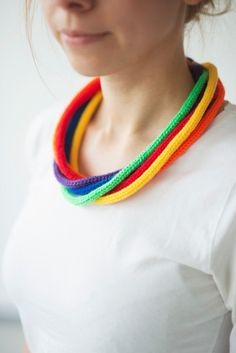 30 OFF SALE Knitted necklace knit jewellery rainbow by Strickzeit, €9.00