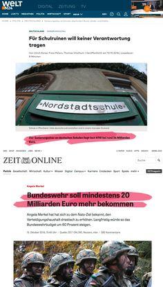 """PAAR DER WOCHE: 34 Milliarden Euro werden gebraucht, um alle Schulen in Deutschland zu sanieren, doch die Bundeskanzlerin hält es für wichtiger, """"mindestens"""" 20 Milliarden in die militärische Aufrüstung zu stecken. Sieht so aus, als bräuchten wir eine neue Friedensbewegung."""