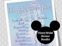 Bridal Shower Game- Disney Princesses and their Princes- Instant Digital Dowload- Customize to include the Bride & Groom!!