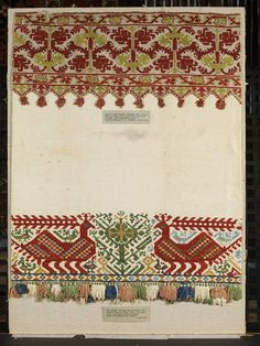Bed valance | | V&A Search the Collections Mykonos, Santorini, Bed Valance, No Sew Curtains, Folk Embroidery, Cross Stitch Embroidery, Modern Furniture, Plywood Furniture, Furniture Design