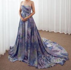 How About This Floral Printed Chiffon Gown For Your Next Event?Who Wanna Say YES To It?#partdresses #occasiondresses #promdresses #eveningdresses #cocomelody #customdresses