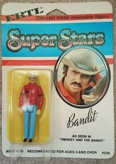 ERTL 'Bandit' action figure from Smokey and the Bandit. Gi Joe, Retro Toys, Vintage Toys, Childhood Toys, Childhood Memories, Big Jim, Smokey And The Bandit, Old School Toys, Burt Reynolds