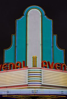 Art Deco Avenal Theater Sign- Avenal, California, restored from fire in 2010