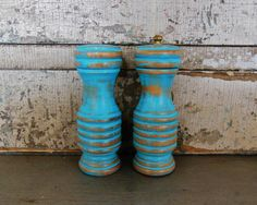 Turquoise Salt Shaker and Pepper grinder.  Going to create similar effect on stained table outside.
