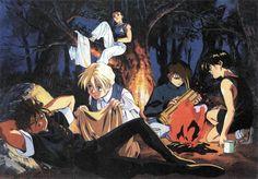 Heero, Duo, Trowa, Quatre, and WuFei camping Gundam Wing Heero Yuy, Gundam Mobile Suit, Gundam Wing, Mecha Anime, 80s Kids, Anime Love, Book Art, Nerd, Animation
