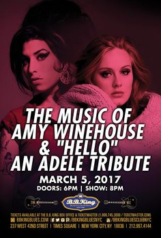 """The Music of Amy Winehouse & """"Hello"""" An Adele Tribute (3.5.17)"""