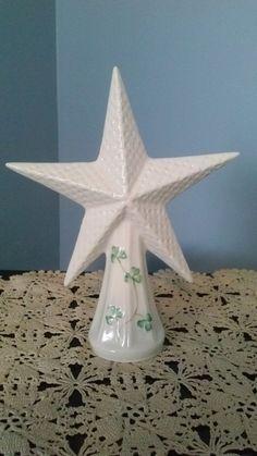 Belleek Shamrock Star Christmas Tree Topper Ireland Made ~ Irish Porcelain Christmas Tree Toppers, Christmas Ornaments, Irish Christmas, Ireland, Porcelain, Stars, Vintage, Porcelain Ceramics, Christmas Jewelry