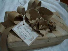 Reutilizando caixas, com rolos de papel,por aluna surda CECAP.