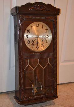 Antique Seikosha Pendulum Wall Clock, Pine/Oak, 28 Inches, Not Working
