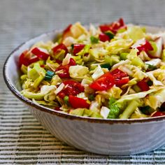 Spicy Cabbage Salad with Tomatoes, Radishes, and Celery (Puerto Rican Cabbage Salad); this is great all year with cherry tomatoes when there are no garden tomatoes available. [from KalynsKitchen.com] #DeliciouslyHealthyLowCarb #GlutenFree #YearRoundSalad