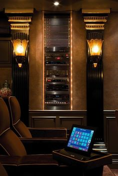 Home Theater. Art Deco style, control rack, tablet controls