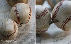 diy baseball wreath. would be good in a kids room, then add more too it as they get older.