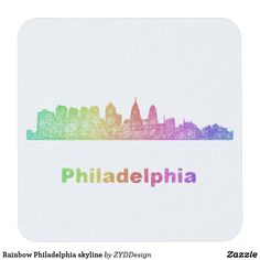 Rainbow Philadelphia skyline Square Paper Coaster #rainbow #kitchenware #tableware #tabletop #party #coaster #drinkware #philadelphia #papercoaster #colorful #CitySkyline #multicolor #party #partysupply #partysupplies #graphicdesign #zazzle #CoasterDesign