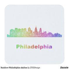 Rainbow Philadelphia skyline Square Paper Coaster #rainbow #kitchenware #tableware #tabletop #party #coaster #drinkware #philadelphia #papercoaster #colorful #CitySkyline #multicolor #party #partysupply #partysupplies #graphicdesign #zazzle #CoasterDesign