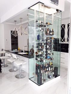 93 stylish home bar designs that make you relaxed 28 ⋆ masnewsclub Wine Cellar Modern, Glass Wine Cellar, Home Wine Cellars, Wine Rack Design, Wine Cellar Design, Wine Cabinets, Kitchen Cabinetry, Storage Cabinets, Wine Wall