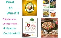 Enter to Win 4 Healthy Cookbooks in our Pin-It to Win-It Contest! Healthy Dark Chocolate, Healthy Cook Books, Packing, Food, Green, Projects, Bag Packaging, Log Projects, Meal