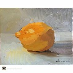 """Fantastic work from @jeremyrduncan give him a follow for more great art .  8x10""""  #lemon #citrus #painting #art #fineart #artist #stilllife #painting #oilpainting #oils #paint #painter #yellow #color #nofilter #light #shadow #nofilterneeded #zitron #california #norcal #amadorcounty #ione #spring #saturday #nature"""