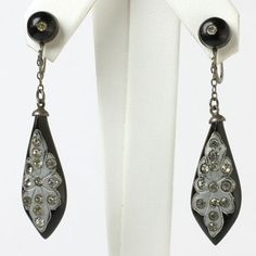 Art Deco vintage jewelry - Onyx, Diamanté & Sterling Art Deco Dangle Earrings