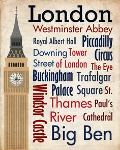 Sights of London Poster - One day I will see all those things!