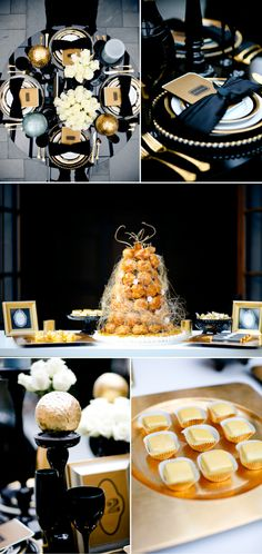 more table settings to go with black and gold theme to represent the great gatsby Great Gatsby Wedding, Gold Wedding Theme, Gatsby Party, Wedding Themes, Trendy Wedding, Wedding Table, Wedding Colors, Our Wedding, Dream Wedding