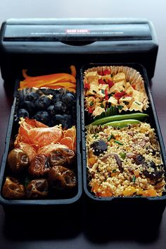 A variety of salads make up a simple but sophisticated bento