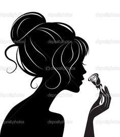 silueta de chica de belleza con rose - Ilustración de stock: 5419938
