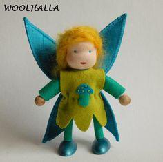 Waldorf Doll  Dollhouse Fairy Bright Mushroom by woolhalla on Etsy