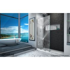 DreamLine Platinum Linea Surf 34 in. W x 72 in. H Single Panel Frameless Shower Screen, Open-Entry Design (Polished/Stainless Steel Finish), Clear Walk In Shower Screens, Bathroom Shower Panels, Frameless Shower Doors, Walk In Shower Designs, Glass Installation, Moroccan Interiors, Thing 1, Modern Shower, Wave Design