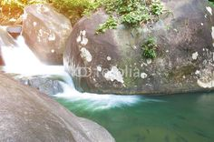 Close up of Khao Cha Mao waterfall with soft light style,at Rayong Thailand