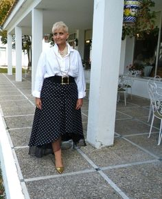 White Christian Dior men shirt/  Polkadot skirt /  vintage pearl necklaces / black leather belt  /  DIY pearl earrings.