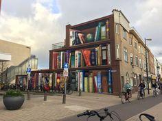"""""""Dutch Artists Jan Is De Man and Deef Feed Paint Bookcase Mural On An Apartment Building in Utrecht, Netherlands"""" Utrecht, 3d Street Art, Street Artists, Street Graffiti, Caravaggio, Henri Matisse, Painting Bookcase, Louvre Pyramid, Transformers"""